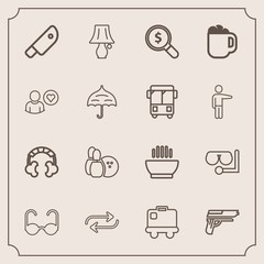 Modern, simple vector icon set with change, hot, sport, search, glass, sunglasses, dinner, game, luggage, bowling, food, audio, replacement, equipment, soup, firearm, table, weapon, sea, pistol icons