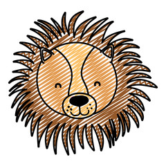 doodle adorable lion head wild animal