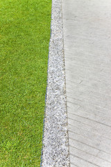 Green lawn with stone floor - image with copy space
