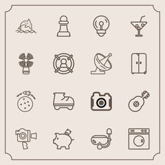 Modern, simple vector icon set with strategy, summer, handle, leisure, beautiful, game, music, photographer, nature, clean, mask, photography, bank, equipment, money, finance, chess, snorkel icons