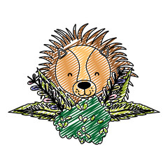 doodle lion head animal with bush flowers plants