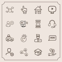 Modern, simple vector icon set with man, home, money, sign, dollar, luggage, architecture, unpacking, technology, display, delete, communication, boy, scale, gesture, white, male, cardboard, bag icons