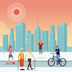 People in the park at sunny day scenery vector illustration graphic design