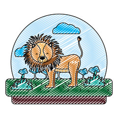 doodle adorable lion wild animal in the landscape