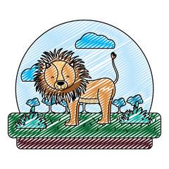 doodle adorable lion wild animal in the landscape
