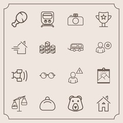 Modern, simple vector icon set with mobile, wild, animal, weight, eyeglasses, train, balance, online, travel, profile, food, object, measurement, style, cell, home, leather, network, telephone icons