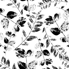 Black and White Abstract leaves silhouette seamless pattern