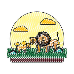 doodle adorable lion family animal in the landscape