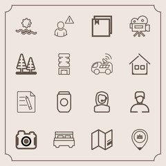 Modern, simple vector icon set with bedroom, sunrise, double, morning, movie, interior, nature, work, can, online, photo, alarm, business, photography, file, tripod, man, office, paper, aluminum icons