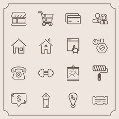 Modern, simple vector icon set with cell, debit, gym, square, coupon, phone, business, telephone, card, brush, tower, workout, staff, retail, banking, photo, entertainment, money, shop, paint icons