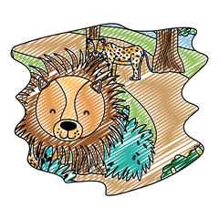 doodle adorable leopard and lion wild animals in the forest