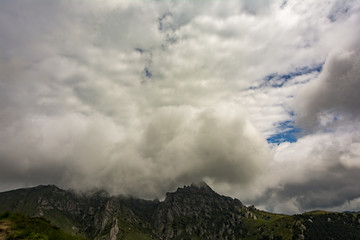 Beautiful cloudy mountain landscapes