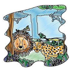 doodle adorable lion and leopard friends animals in the forest