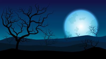 silhouette rainless landscape;blue moon on desert at twilight;desert in summer season;desert wallpaper or background;silhouette landscape flat design;