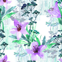 Summer floral seamless pattern with purple lilies and blue weeds watercolor. Summer background on texture grunge