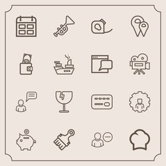 Modern, simple vector icon set with day, chef, window, food, internet, delete, web, destruction, brush, card, online, bank, jazz, musical, mobile, insulating, chat, tape, friction, cook, uniform icons