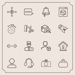 Modern, simple vector icon set with ring, exercise, headset, dollar, fashion, wooden, business, object, delivery, gym, message, sport, rocket, bell, house, bag, account, support, birdhouse, hair icons