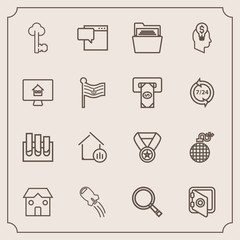 Modern, simple vector icon set with lock, explosion, danger, estate, prize, building, folder, security, award, sign, fire, research, power, rocket, vintage, technology, bank, paper, banking, old icons