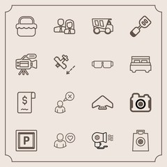 Modern, simple vector icon set with technology, dumper, people, photographer, team, photo, internet, hair, extreme, dump, web, electric, spatula, car, summer, retail, food, truck, business, gift icons