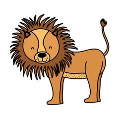 color adorable lion wild animal creature