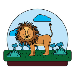 color adorable lion wild animal in the landscape