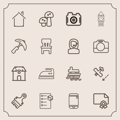 Modern, simple vector icon set with estate, checklist, award, housework, delivery, food, sea, ocean, brush, certificate, cargo, vessel, ironing, flight, frame, iron, aircraft, photo, building icons