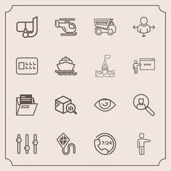 Modern, simple vector icon set with service, online, tipper, eye, truck, sea, business, folder, statistic, finance, computer, snorkel, pointing, paper, vehicle, air, file, operator, joy, white icons