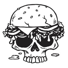 Skull Burger, Fries Vector Illustration