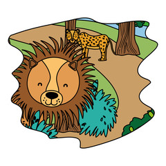 color adorable leopard and lion wild animals in the forest