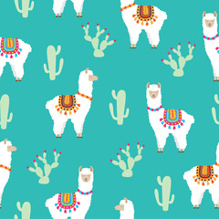 Llama Alpaca and cactus seamless pattern