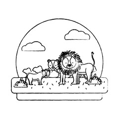 grunge adorable lion family animal in the landscape