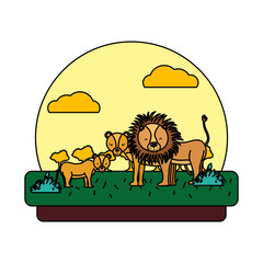 color adorable lion family animal in the landscape