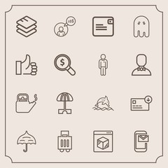 Modern, simple vector icon set with protection, baggage, online, dollar, luggage, internet, water, mail, dolphin, purse, finance, animal, scary, steam, business, sack, airport, white, email, hot icons