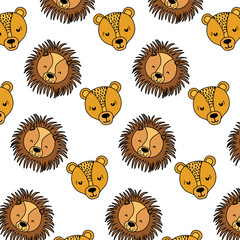 color adorable female and male lion heads background