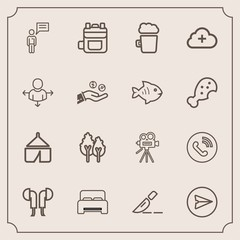 Modern, simple vector icon set with environment, camp, medical, sound, phone, internet, retro, operation, landscape, nature, technology, movie, furniture, audio, backpack, rucksack, leather, bed icons