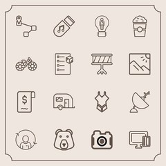 Modern, simple vector icon set with dish, fashion, satellite, credit, bikini, van, photography, communication, business, technology, idea, shopping, camera, creative, swimsuit, sale, payment icons