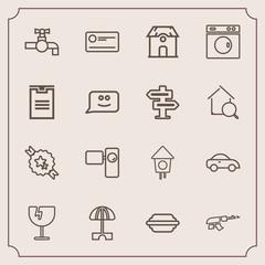 Modern, simple vector icon set with destruction, building, burger, shattered, hamburger, decorative, tripod, house, birdhouse, architecture, umbrella, vehicle, parasol, sun, tap, crash, window icons