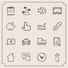 Modern, simple vector icon set with transport, wear, telephone, speech, tower, fashion, white, tool, blank, leisure, europe, frame, message, blue, transportation, estate, zoom, closed, car, cell icons
