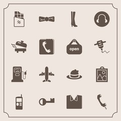 Modern, simple vector icon set with communication, business, sign, elegance, chocolate, mobile, tie, bow, station, book, telephone, clothing, new, white, gasoline, equipment, headwear, shirt icons