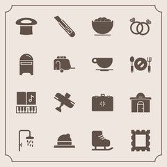 Modern, simple vector icon set with health, note, fashion, house, photo, hat, aircraft, picture, engagement, headwear, shower, travel, diamond, music, cold, bowl, clothing, medical, empty, ice icons