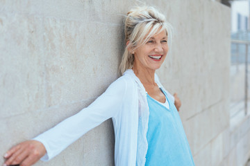 Smiling mature woman in happy lifestyle concept