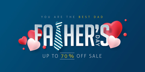 Happy Fathers Day greeting card and sale poster background. Vector illustration.