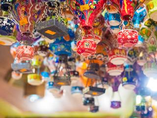 Colorful balloon tourist souvenirs in Cappadocia street markets.