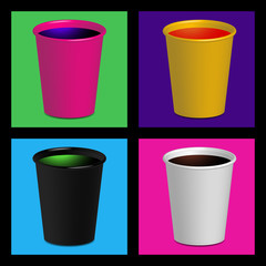 Colorful Blank Plastic And Paper Cups Mix Frame