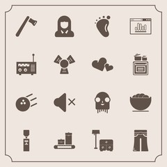 Modern, simple vector icon set with construction, bed, sofa, fun, fashion, tool, volume, chair, sound, female, water, luggage, liquid, face, sport, furniture, white, food, space, pants, mute icons