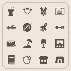 Modern, simple vector icon set with fire, winner, camera, percussion, book, library, parachute, fireplace, analytics, internet, warm, lamp, security, website, antenna, music, radio, palm, home,  icons