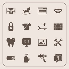 Modern, simple vector icon set with web, , equipment, toy, lips, research, cute, travel, journey, trailer, old, female, spanner, business, wrench, table, horse, teeth, art, healthy, background icons