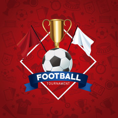 Russian soccer tournament banner with flag colors vector illustration graphic design