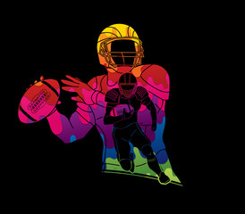 American Football player action, sport concept designed using colorful graphic vector.