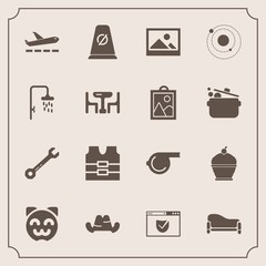 Modern, simple vector icon set with object, fashion, sofa, background, street, road, kitty, check, picture, home, frame, tool, clothing, whistle, cake, security, hammer, pie, animal, room, cute icons